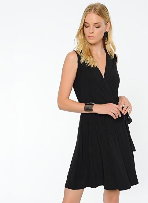 People By Fabrika V Yakalı Elbise Siyah